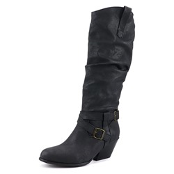 Shoespie Sexy Slip-On Round Toe Chunky Heel Buckle Boots