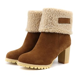 Shoespie Trendy Slip-On Round Toe Patchwork Short Floss Boots
