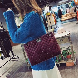 Shoespie Quilted Lining Plaid Rectangle Shoulder Bags