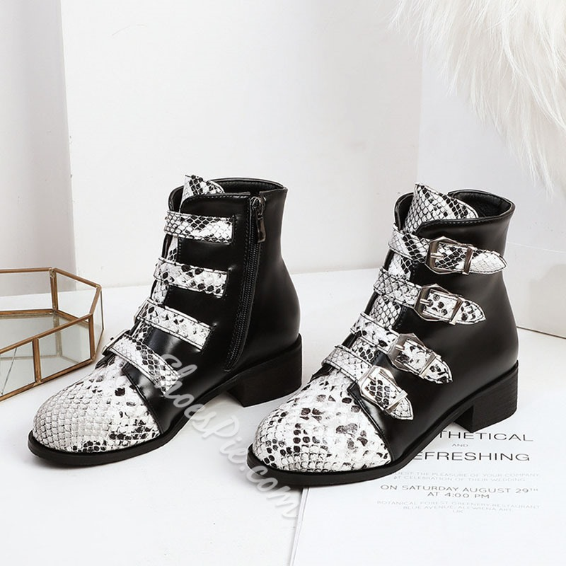 Shoespie Sexy Side Zipper Color Block Round Toe Serpentine Boots
