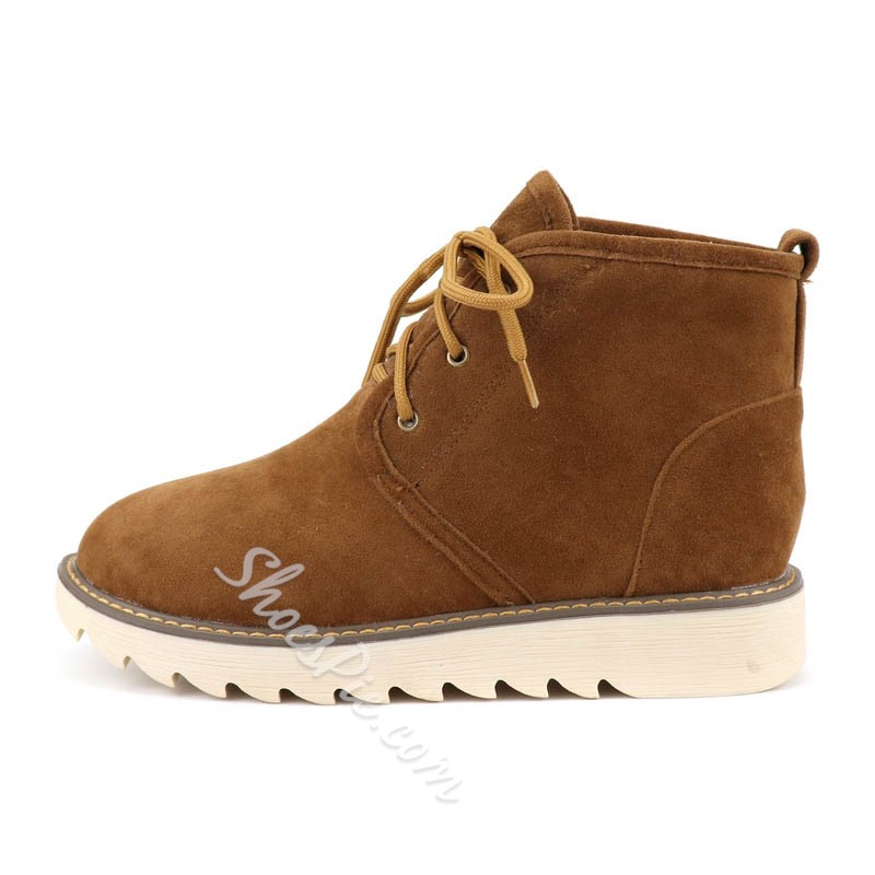 Shoespie Stylish Round Toe Lace-Up Front Plain Short Floss Boots