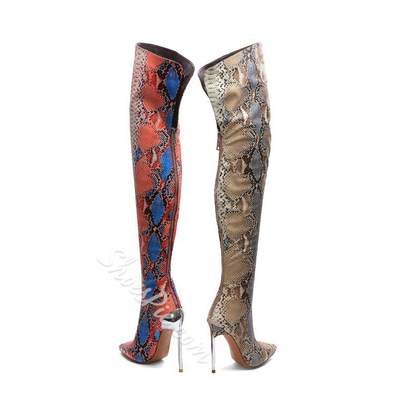 Shoespie Stylish Pointed Toe Color Block Back Zip Serpentine Boots