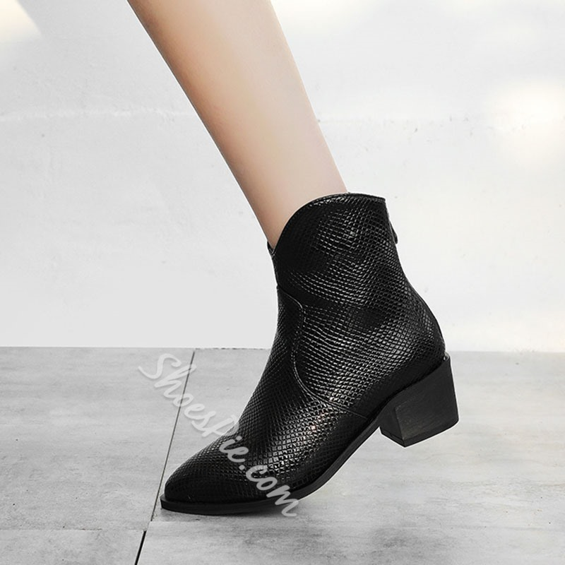 Shoespie Sexy Chunky Heel Back Zip Pointed Toe Short Floss Boots