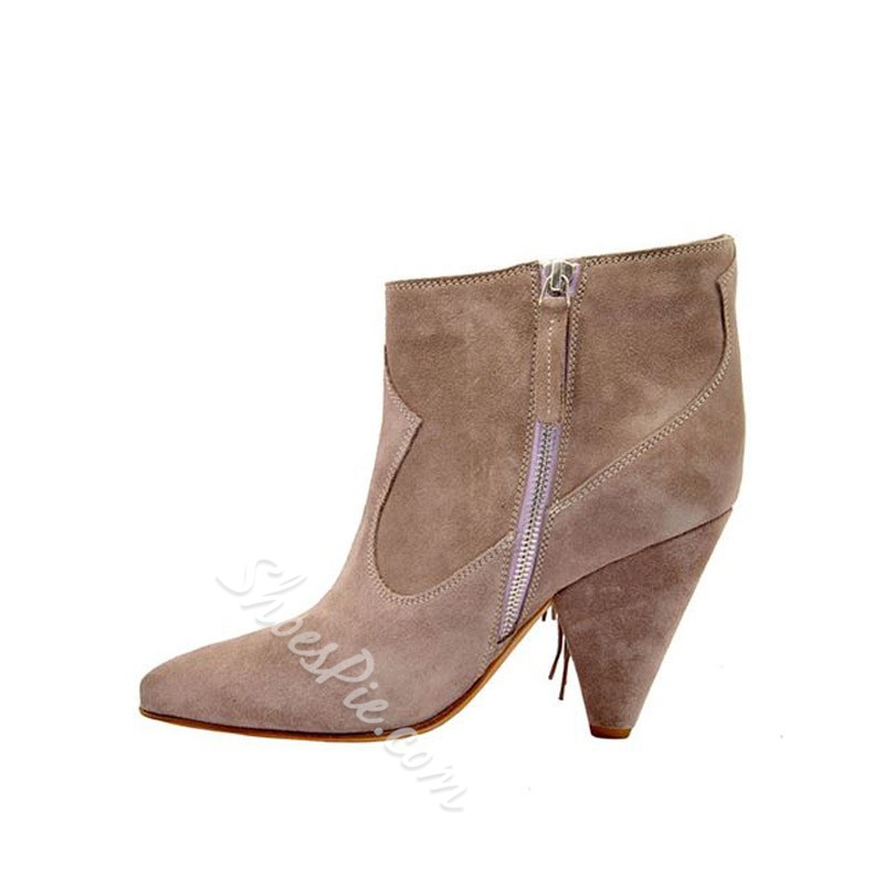 Shoespie Sexy Pointed Toe Chunky Heel Plain Casual Boots