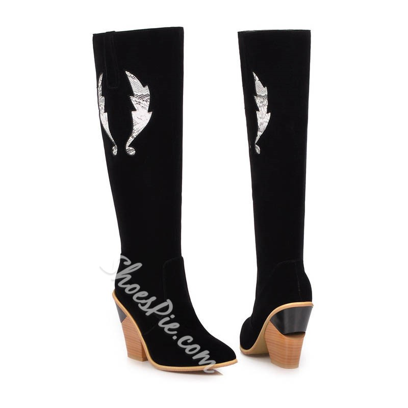 Shoespie Sexy Chunky Heel Pointed Toe Side Zipper Print Boots