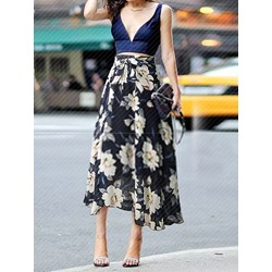 Plus Size A-Line Print Mid-Calf Ladylike Women's Skirt