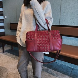 Shoespie Plain PU Patchwork Rectangle Tote Bags
