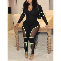 Patchwork Plain Sexy Skinny Women's Jumpsuit