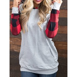 Plaid Regular Long Sleeve Women's Hoodie