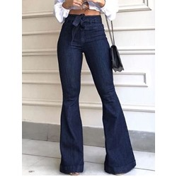 Bellbottoms Plain Lace-Up High Waist Wide Legs Women's Jeans