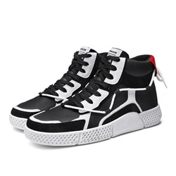 Shoespie Men's High-Cut Upper Flat With Patchwork Round Toe Skate Shoes