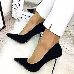 Shoespie Trendy Black Slip-On Pointed Toe Stiletto Heels