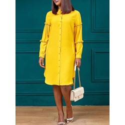 Plus Size Mid-Calf Stand Collar Long Sleeve Single-Breasted Women's Dress