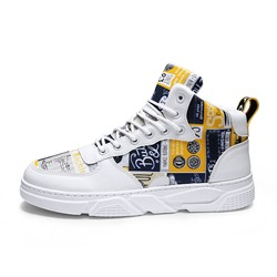 Shoespie Men's High-Cut Upper Letter Lace-Up Round Toe Skate Shoes