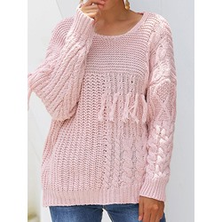 Thin Tassel Regular Round Neck Women's Sweater