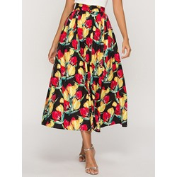 A-Line Plant Print Color Block Women's Skirt