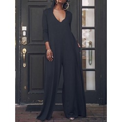 Plain Full Length Loose Women's Jumpsuit
