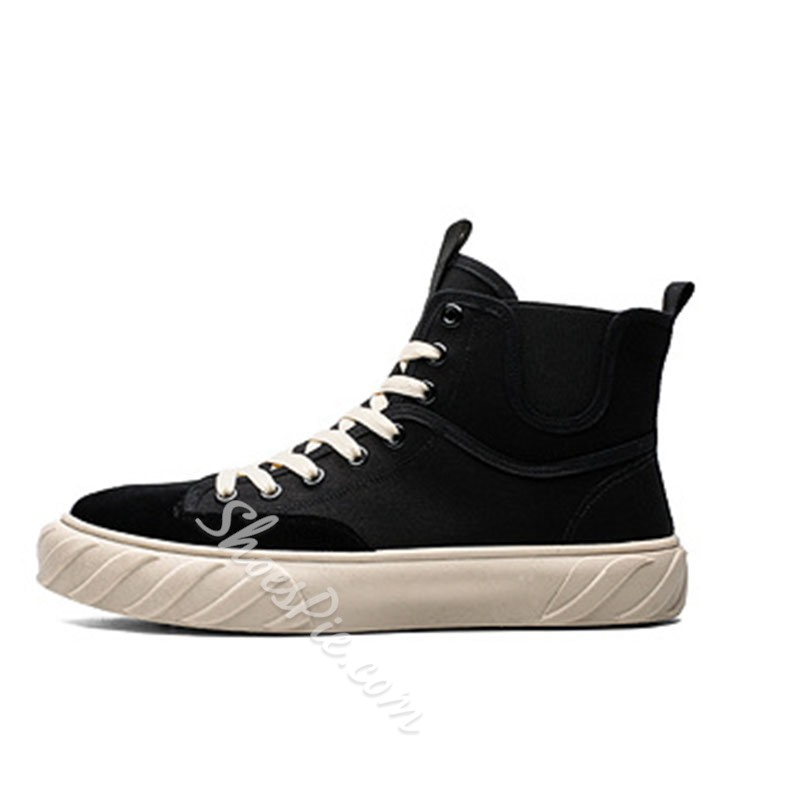 Shoespie Men's Lace-Up Patchwork High-Cut Upper Round Toe Skate Shoes