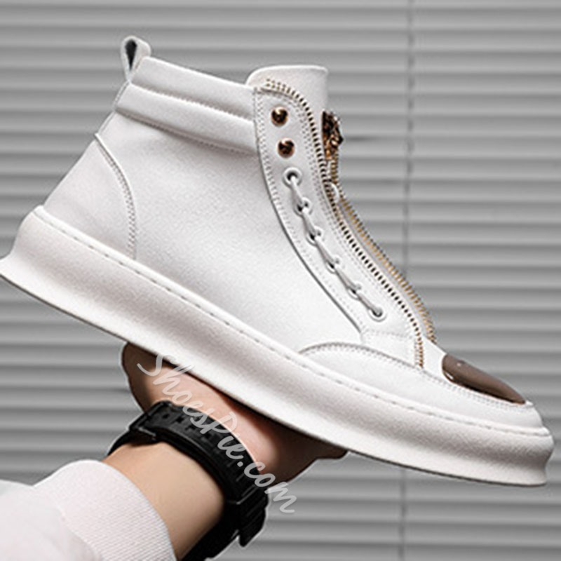 Shoespie Mid-Cut Upper Slip-On Patchwork Round Toe Skate Shoes