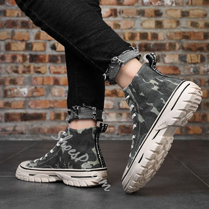 Shoespie Men's Lace-Up Camouflage Round Toe Skate Shoes
