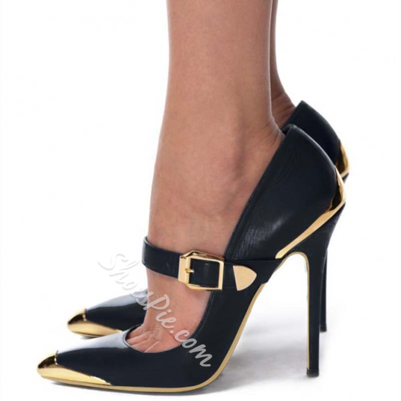 Shoespie Black Stiletto Heel Buckle Pumps