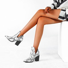 Shoespie Trendy Chunky Heel Color Block Round Toe PU Boots
