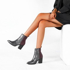 Shoespie Sexy Color Block Chunky Heel Back Zip Sexy Boots