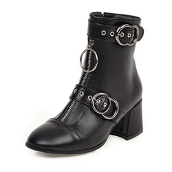Shoespie Sexy Side Zipper Round Toe Plain Casual Boots