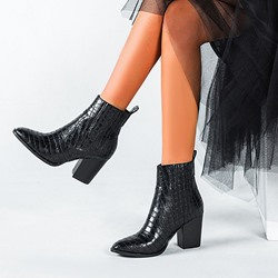 Shoespie Stylish Slip-On Chunky Heel Pointed Toe Western Boots