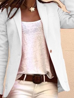 Plain One Button Notched Lapel Mid-Length Women's Casual Blazer
