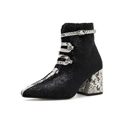 Shoespie Sexy Chunky Heel Pointed Toe Hasp PU Boots