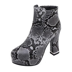 Shoespie Stylish Chunky Heel Round Toe Side Zipper Sexy Boots