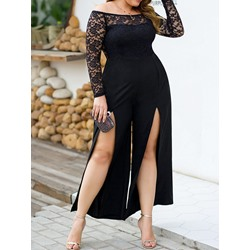 Full Length Plain Slim Lace Women's Jumpsuit