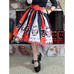 Pleated Mid-Calf Skull Ethnic Women's Skirt