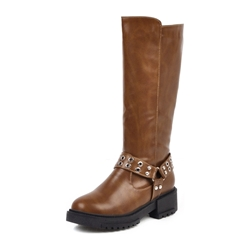 Shoespie Trendy Block Heel Patchwork Round Toe Casual Boots