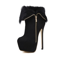 Shoespie Sexy Side Zipper Patchwork Round Toe Zipper Boots