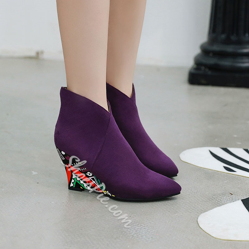 Shoespie Stylish Color Block Side Zipper Wedge Heel Thread Boots