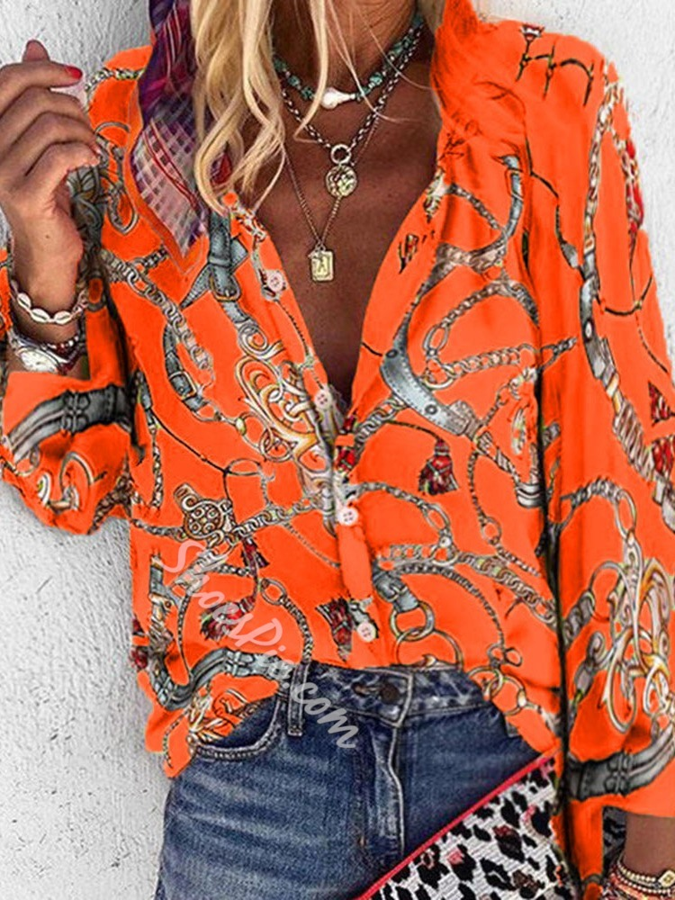 Regular Print Stand Collar Long Sleeve Women's Blouse