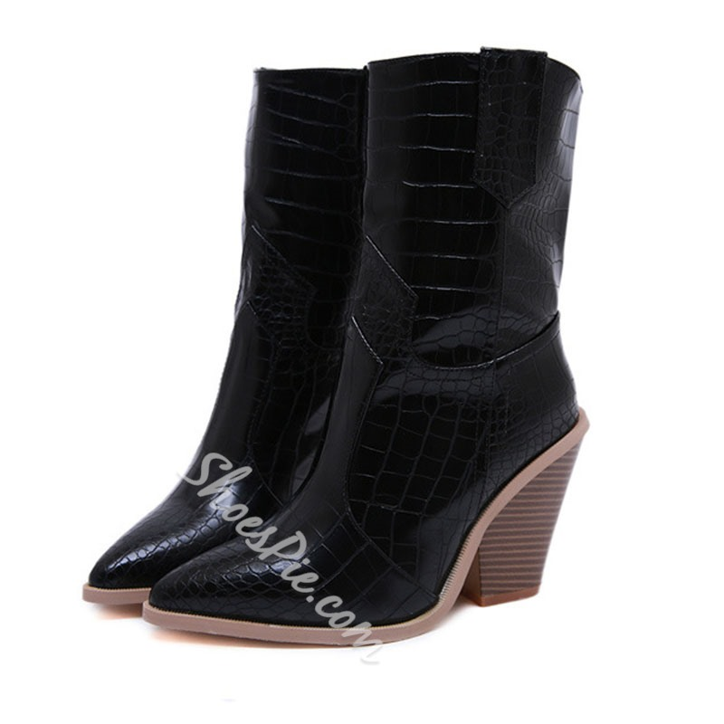 Shoespie Sexy Color Block Slip-On Chunky Heel Western Boots