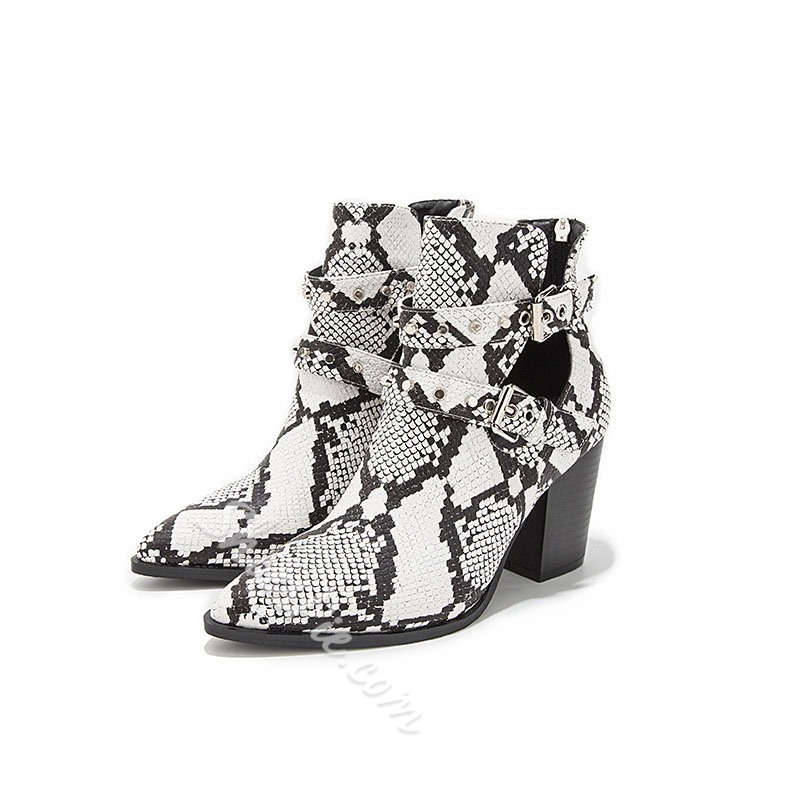 Shoespie Trendy Back Zip Color Block Pointed Toe Serpentine Boots