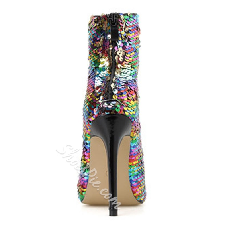 Shoespie Stylish Back Zip Color Block Pointed Toe Sequin Boots