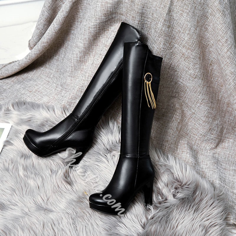 Shoespie Trendy Side Zipper Round Toe Plain Platform Boots