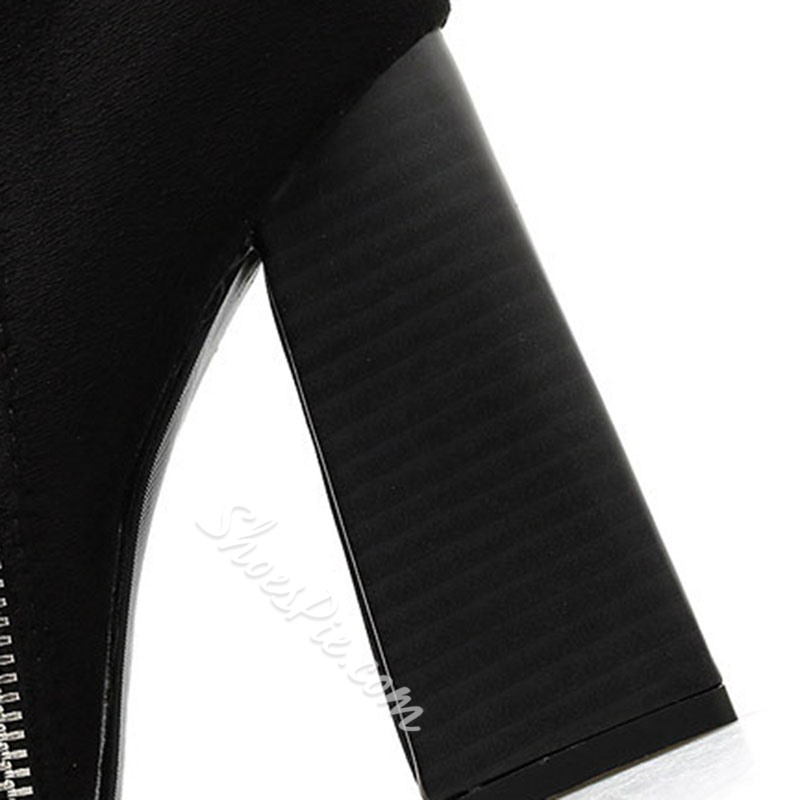 Shoespie Sexy Plain Side Zipper Pointed Toe Zipper Boots