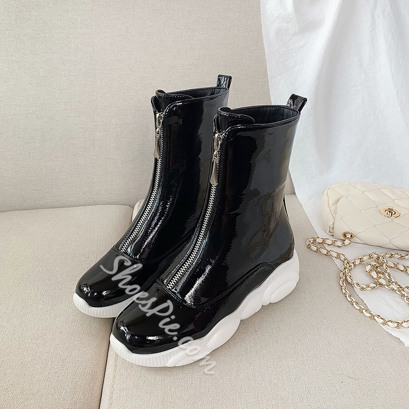 Shoespie Trendy Front Zipper Plain Round Toe Zipper Boots