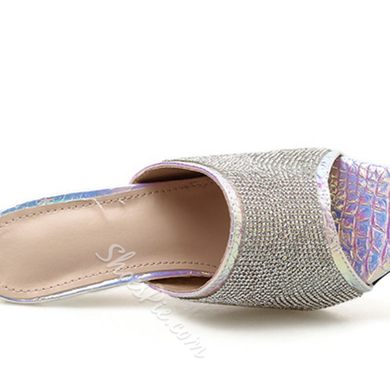 Shoespie Stylish Rhinestone Slip-On Flip Flop Spring Slippers