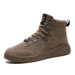 Shoespie Men's Lace-Up Color Block High-Cut Upper Round Toe Boots