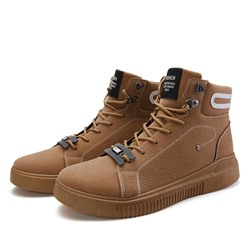 Shoespie Men's Lace-Up High-Cut Upper Patchwork Round Toe Boots