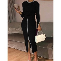 Round Neck Split Mid-Calf Mid Waist Women's Dress