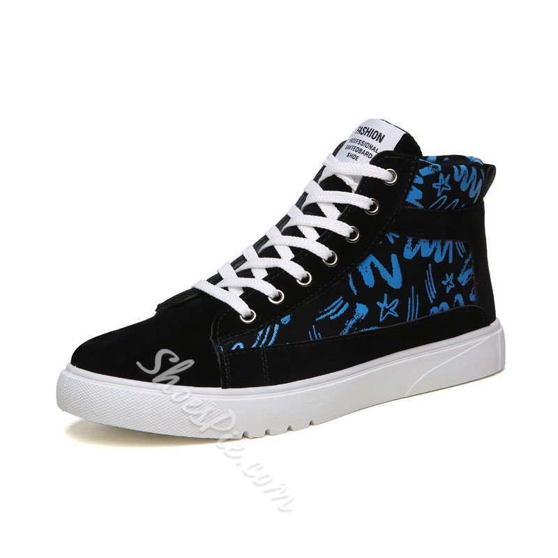 Shoespie Men's High-Cut Upper Lace-Up Letter Round Toe Skate Shoes