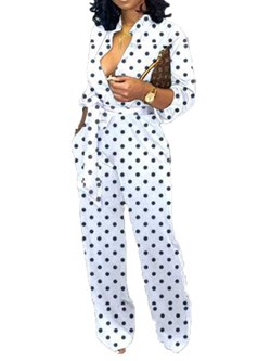 Casual Polka Dots Full Length Straight Women's Jumpsuit